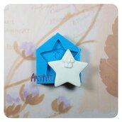 Stampo artigianale etichetta stella con vestitino bebè 3,6x3,5cm stampo in silicone a tema battesimo nascita