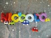 Banner nome arcobaleno con piccoli giochi, idea regalo orginale