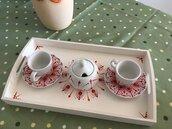 Set 2 tazzine di ceramica con vassoio di legno e zuccheriera dipinti con mandala