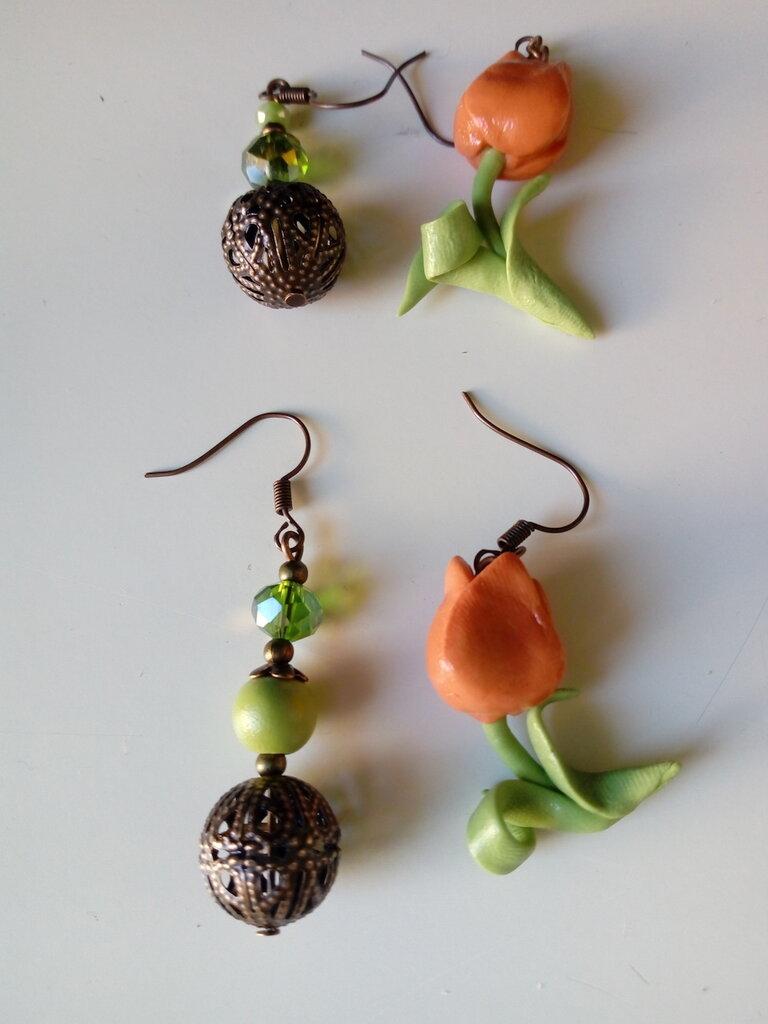 Orecchini tulipano arancione