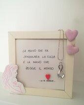 Cornice in legno per mamma, gravidanza. Idea regalo. Nascita rosa azzurro Personalizzabile
