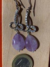 Orecchini In argento925 e zirconi con splendida goccia di ametista