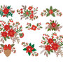 Pes christmas bouquet embroidery design, fiori di Natale ricamo digitale. INSTANT DOWNLOAD