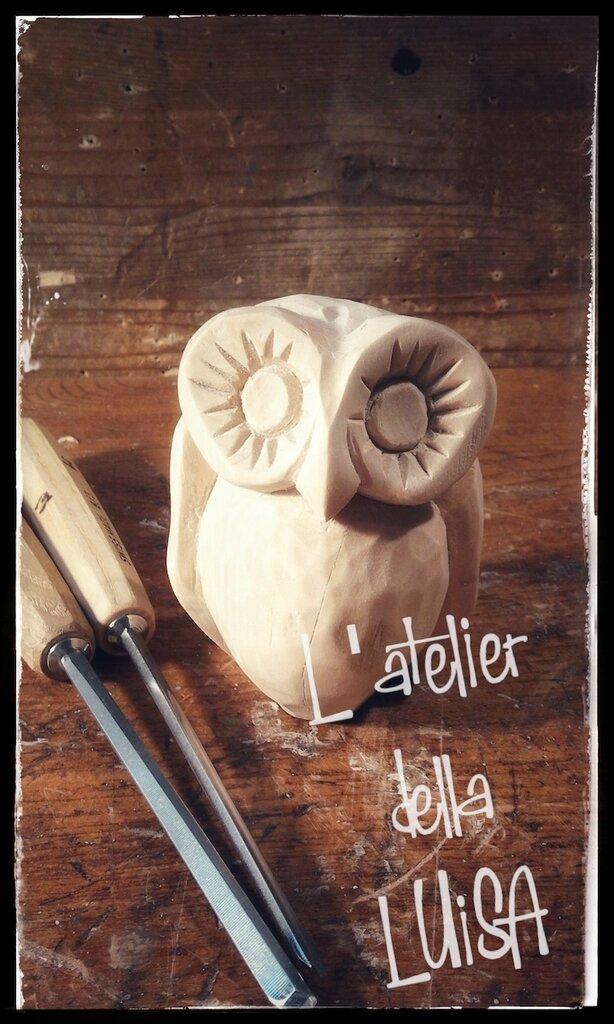Allocco al naturale - in legno di cirmolo scolpito a mano