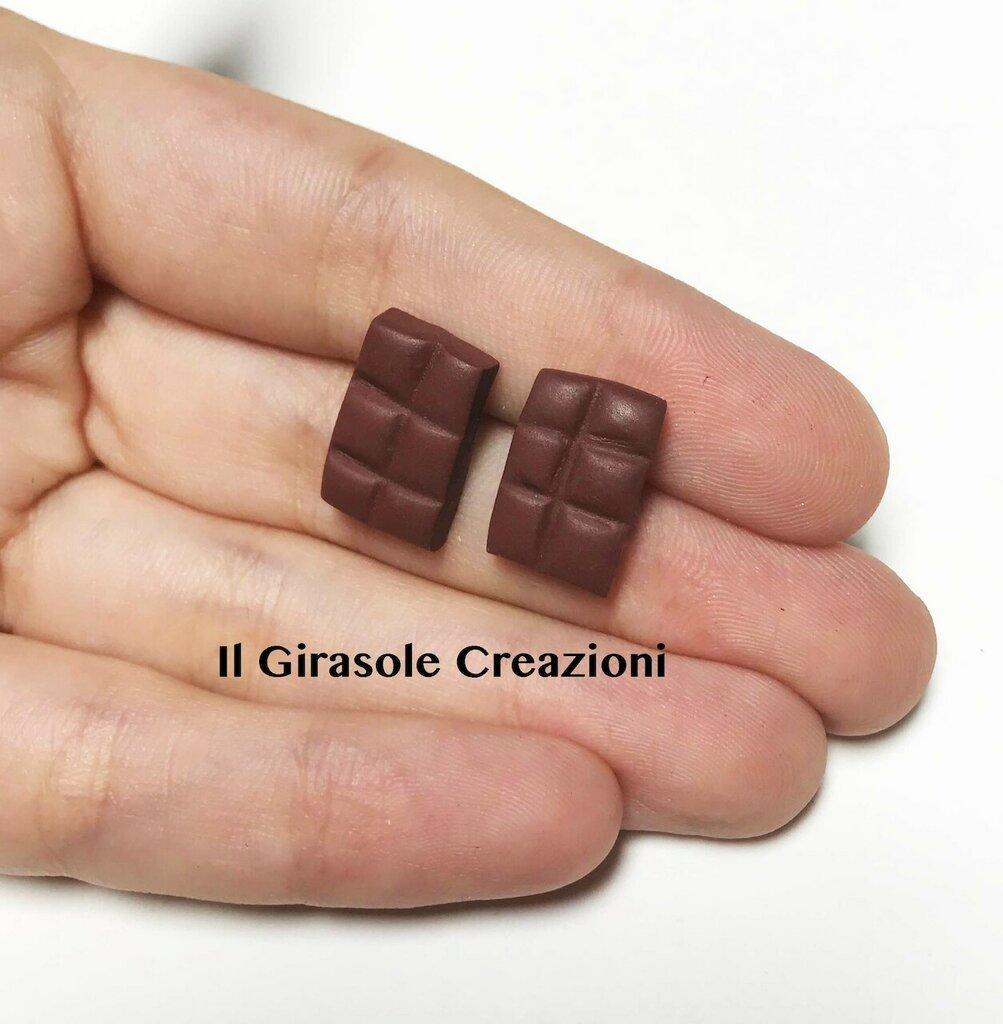 Orecchini tavoletta di cioccolato a perno in fimo