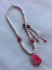 OFFERTA! Collana con perle di fiume rosa