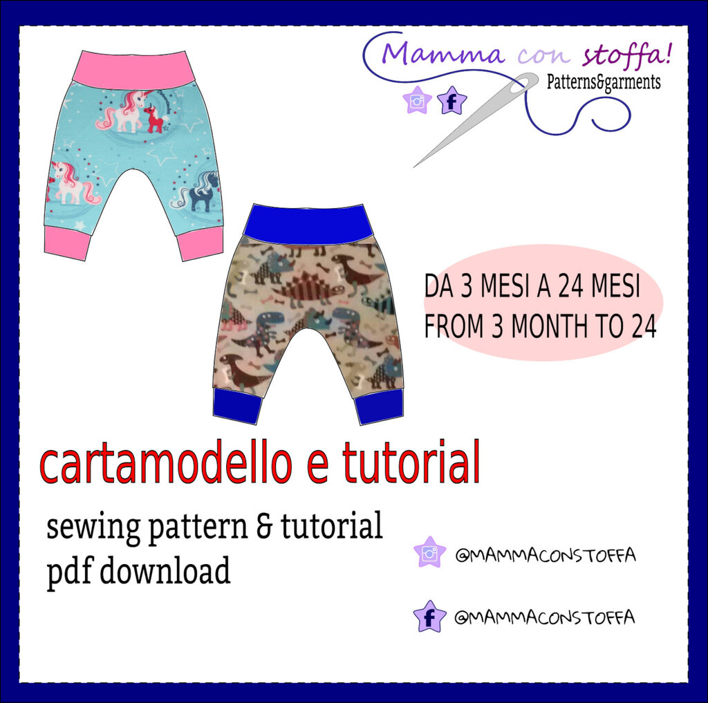 cartamodello harem pants da taglia 1/3 mesi a 24 mesi