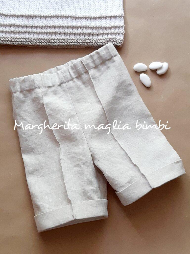 Pantaloni bambino/pantaloncini neonato Battesimo puro lino color sabbia fatti a mano