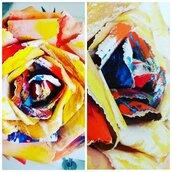 Rosa gigante di carta dipinta a mano