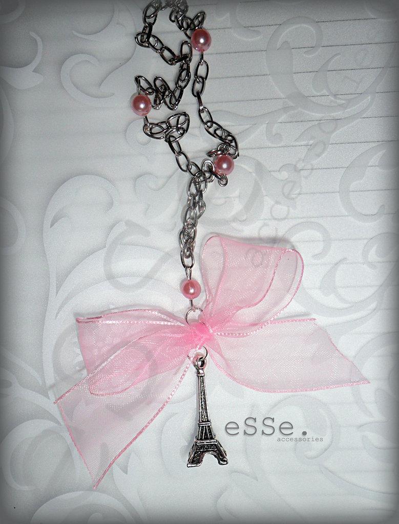 Collana Torre Eiffel *Fiocco rosa*