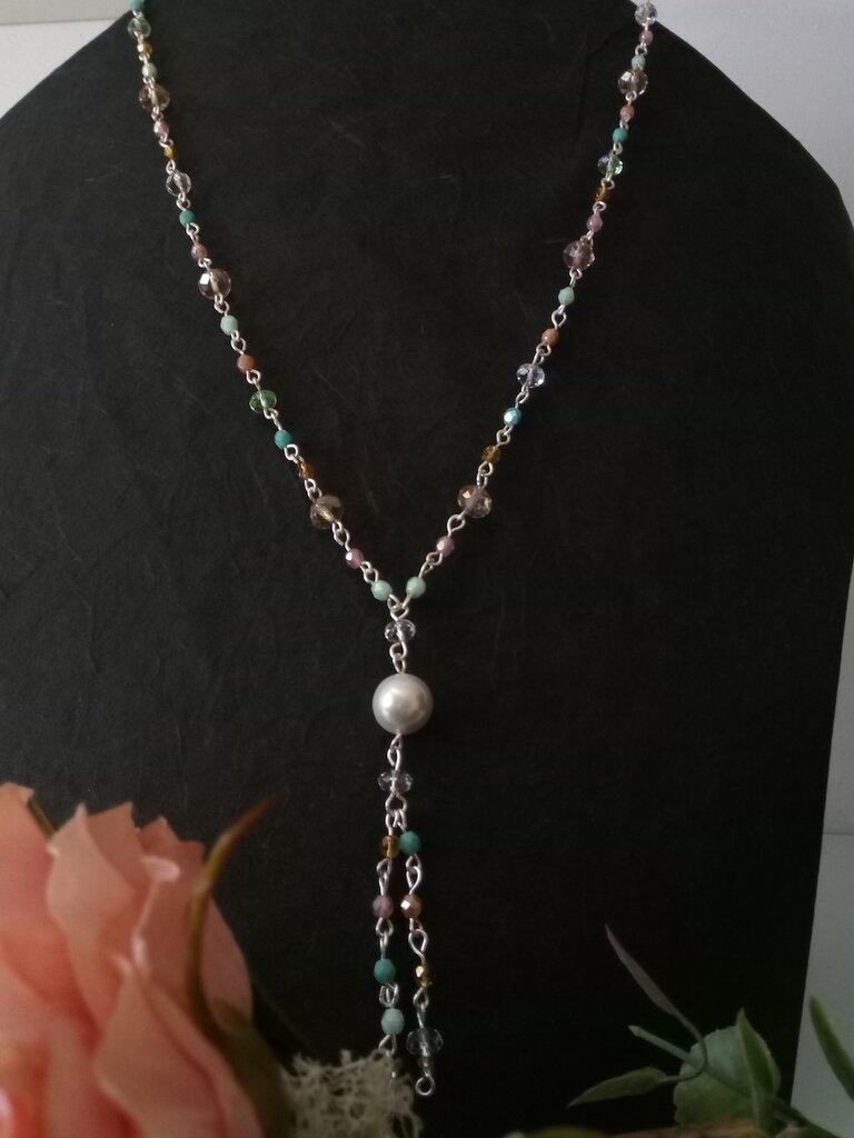 collana lunga maglia rosario a y doppio