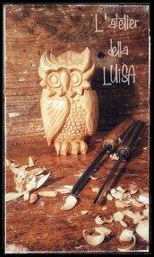GUFO STUPITO - in legno di cirmolo scolpito a mano