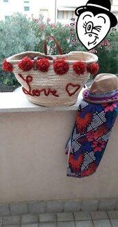 Borse paglia,coffa decorata