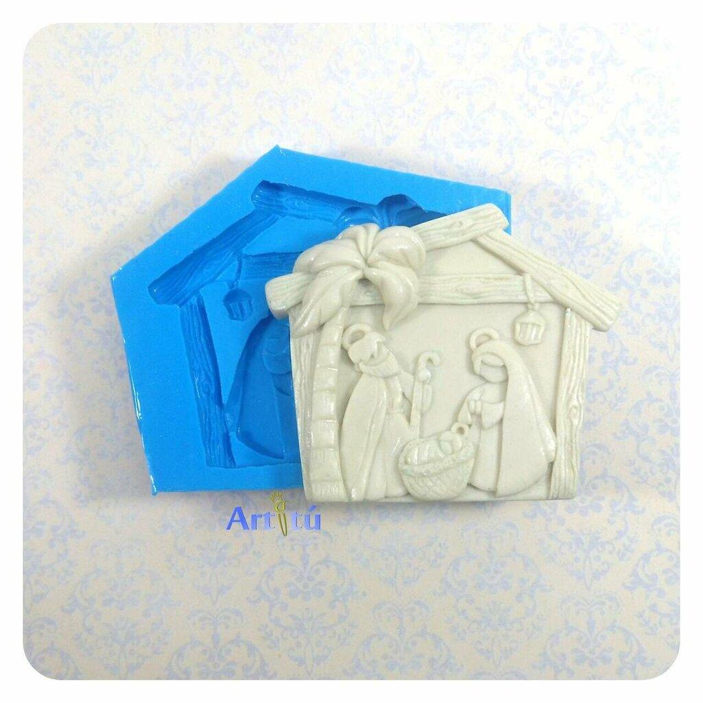 Stampo in silicone artigianale Natività, per resina, gesso, gesso ceramico, pasta al mais, pasta al sale, stampo natalizio flessibile