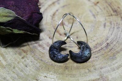 orecchini cerchio luna nera