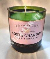 Porta Candela da Bottiglia Champagne Moet & Chandon Ros� Imperial 750 ml Portacandela Vetro riciclo creativo riuso arredo design idea regalo cera