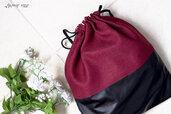 borsa donna sacca in pelle nera e stoffa