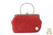 Borsetta elegante rossa, borsa artigianale ad uncinetto