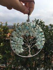 Acchiappa sogni ciondolo albero della vita realizzato con la tecnica wire con filo di rame argentato e pietre dure di amazzonite.