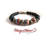 Bracciale da Uomo In agata nera pietre dure naturali,perle in bronzo smaltato stile tibet,meditazione,per lui