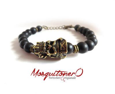 Bracciale da Uomo con teschio pirata in bronzo e perle in agata nera pietre dure naturali stile tibet,per lui