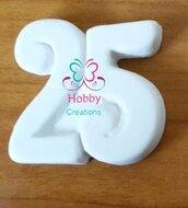 Gessetto a forma di 25  per bomboniera Compleanno Anniversario – Idea Regalo