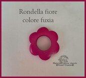 Rondella fiore in legno -Fuxia-