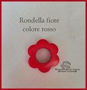 Rondella fiore in legno -Rosso-
