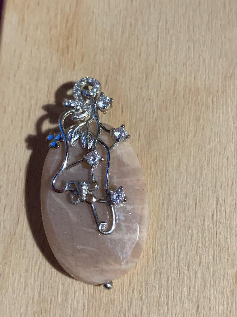 Ciondolo pietra di luna argento 925 e zirconi