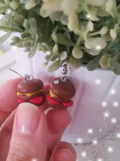 Orecchini Hamburgher in Fimo Cernit Panino Idea regalo Earrings