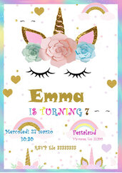 Invito compleanno unicorno personalizzato DIGITALE party invitation download immagine da stampare