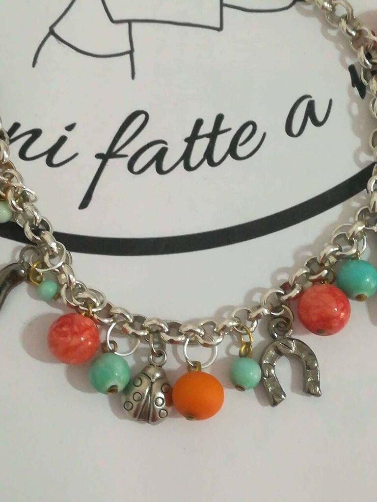 Bracciale braccialetto charms Pendenti portafortuna Quadrifoglio Corno Arancione azzurro