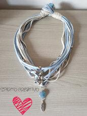 Collana in fettuccia e charms alluminio