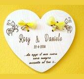 Portafedi  matrimonio  porta anelli legno di betulla personalizzato