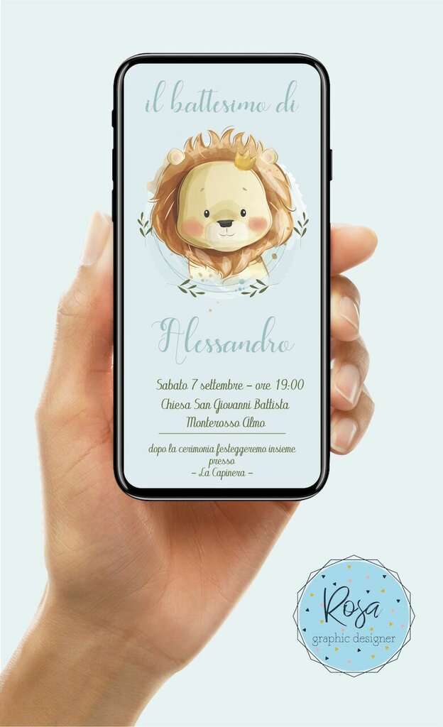 INVITO DIGITALE BATTESIMO LEONE