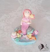 Cake topper sirenetta decorazione torta compleanno bimba