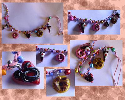 bracciale charms cernit con cordoncino e campanellini