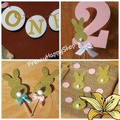 Kit compleanno coniglio Primo compleanno Bambina Bambino festa tema conigli animali giungla personalizzato secondo compleanno Colori pastello cake topper torta toppers festone