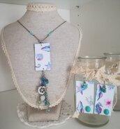 Completo orecchini collana mare cavalluccio marino ancora azzurro rosa necklace IDEA REGALO
