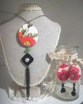 Completo decoupage Fiori Papaveri collana orecchini Rosso Idea mamma