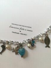 Braccialetto polpo delfino pesci. Ciondoli charms pendenti. ❤️ Pezzo unico