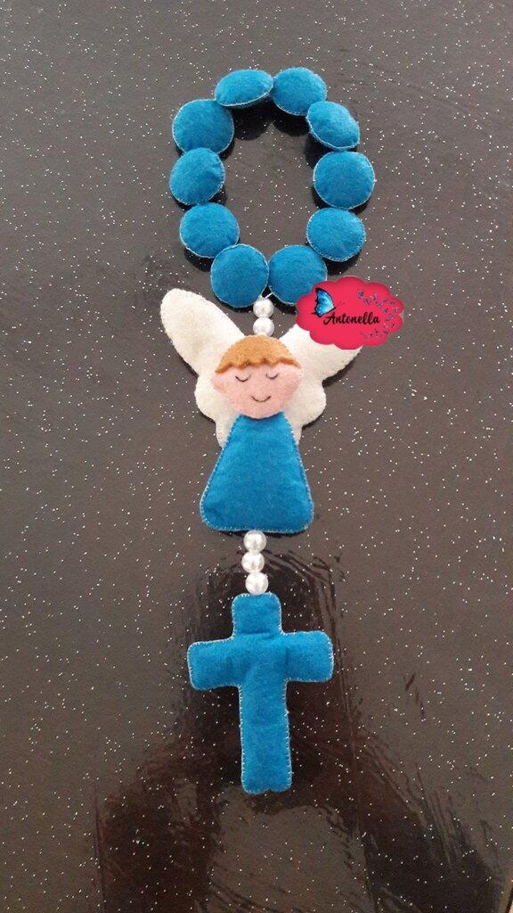 coroncina rosario con angioletto in feltro