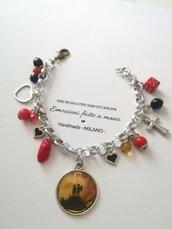 Braccialetto San Valentino Amore Love ❤️ rosso nero fortuna cuori argento