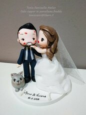 Mini cake topper sposi cartoon in porcellana