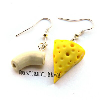 Orecchini pasta e formaggio - Mac 'n Cheese - miniature kawaii handmade - idea regalo, fake food