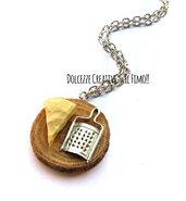 Collana grattugia e formaggio - vassoio tagliere - miniature handmade - kawaii - fake food -
