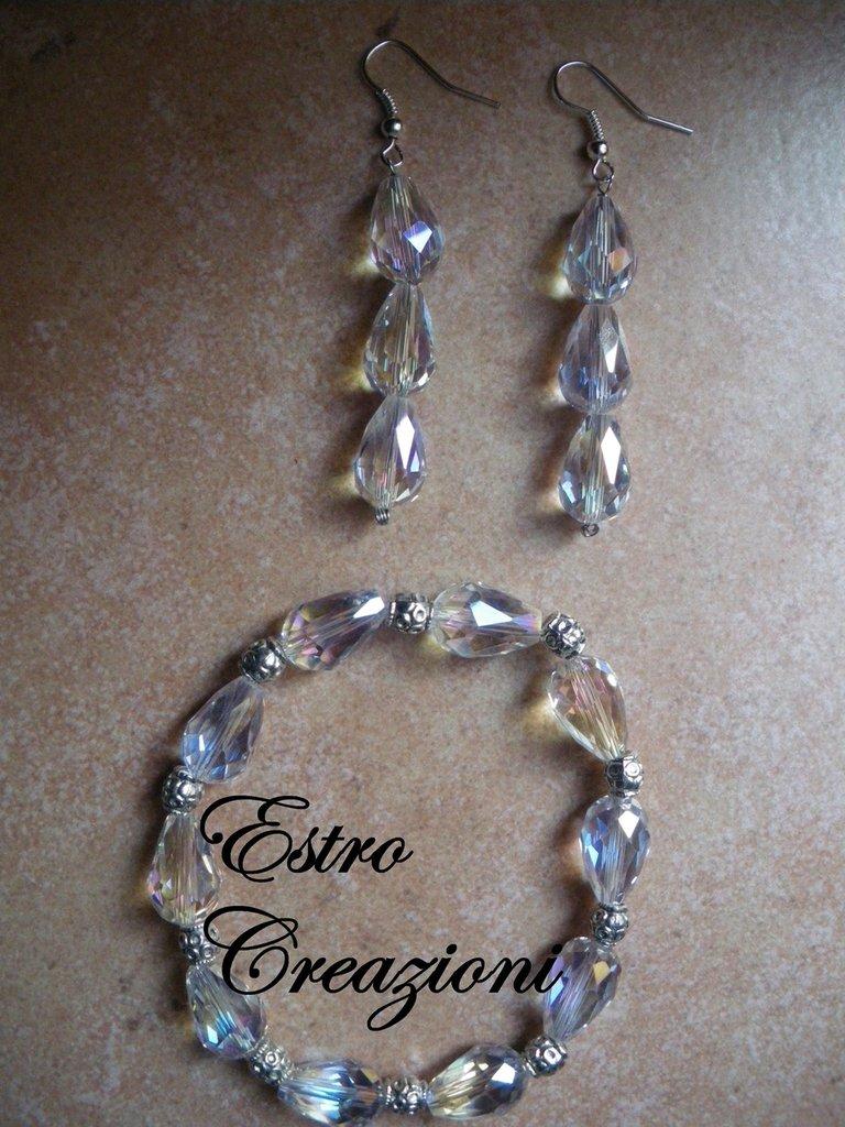 orecchini e bracciale diamantina