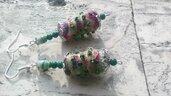 Orecchini boho, perle di stoffa ,argento tibetano e perline di vetro