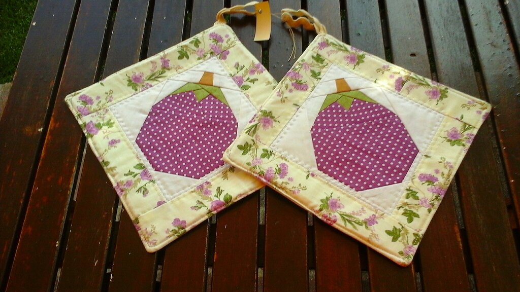 Coppia presine patchwork melanzana