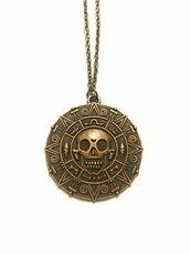 Collana medaglione d'oro Azteco di Cortez Pirati dei Caraibi tono bronzo Jack Sparrow Elizabeth Swan Maledizione Prima Luna Teschio